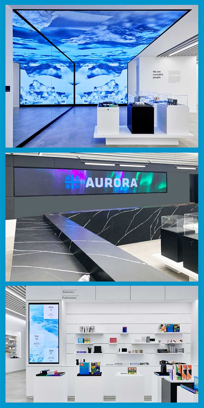 Aurora-Cannabis-Experiential-Flagship-Store-West-Edmonton-Mall-LED-digital-containermenu-board-portrait-display-edmonton-alberta-canada-lightvu