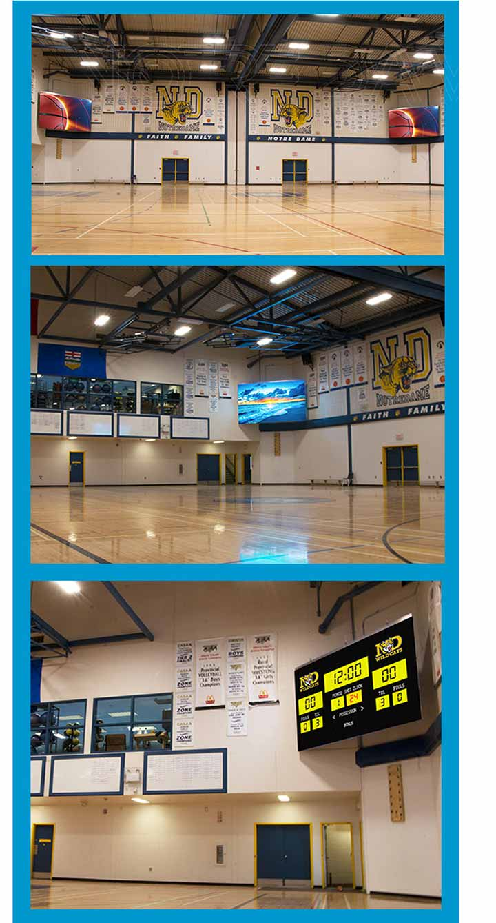 Notre-Dame-Composite-High-School-LED-Digital-Electronic-Scoreboard-Display-Red-Deer-Alberta-Canada-LIGHTVU