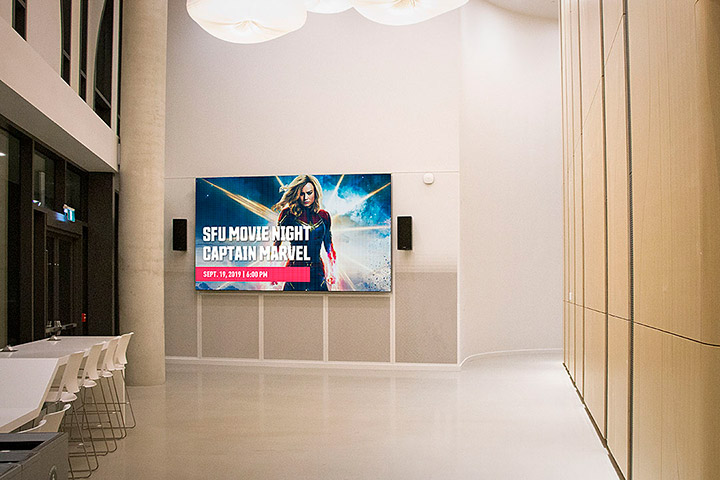 Simon-Fraser-University-Surrey-Campus-Lobby-Indoor-LED-Digital-Message-Board-British-Columbia-Canada-LIGHTVU