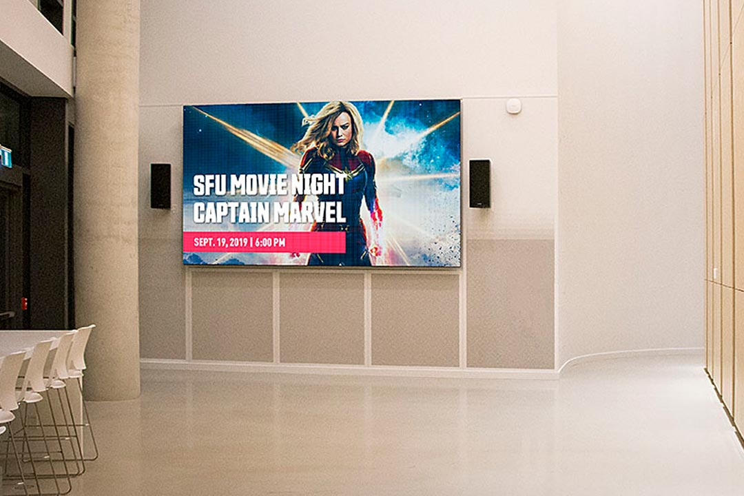 Simon_Fraser_University_Lobby_Indoor_LED_Digital_Message_Board_Video_Wall_Signage_Surrey_British_Columbia_LIGHTVU